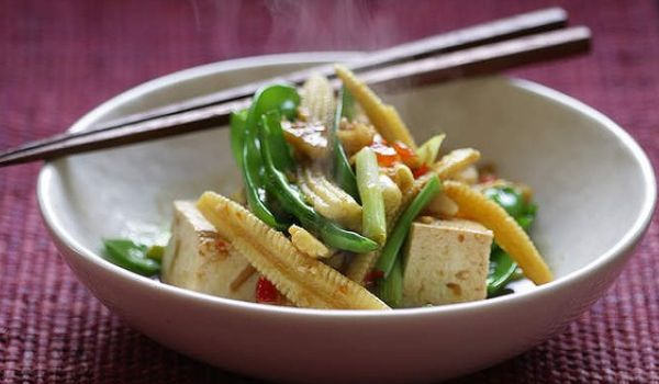 Baby Corn and Snow Pea Saute
