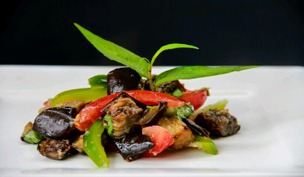 Eggplant Salad with Lemon-flavored Plum Dressing